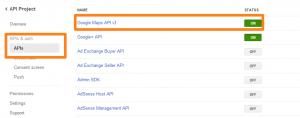 「Google Maps API v3」を「ON」