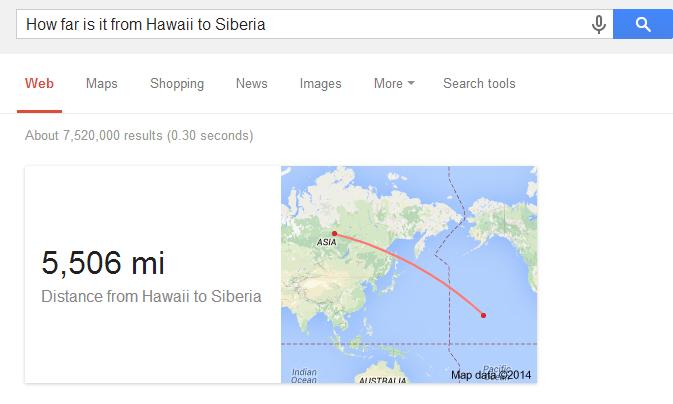 Google検索「シベリアとハワイの距離」