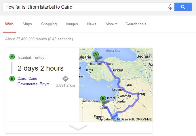 イスタンブールとカイロの距離