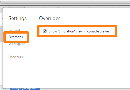 「Show 'Emulation' view in console drawer」をチェック